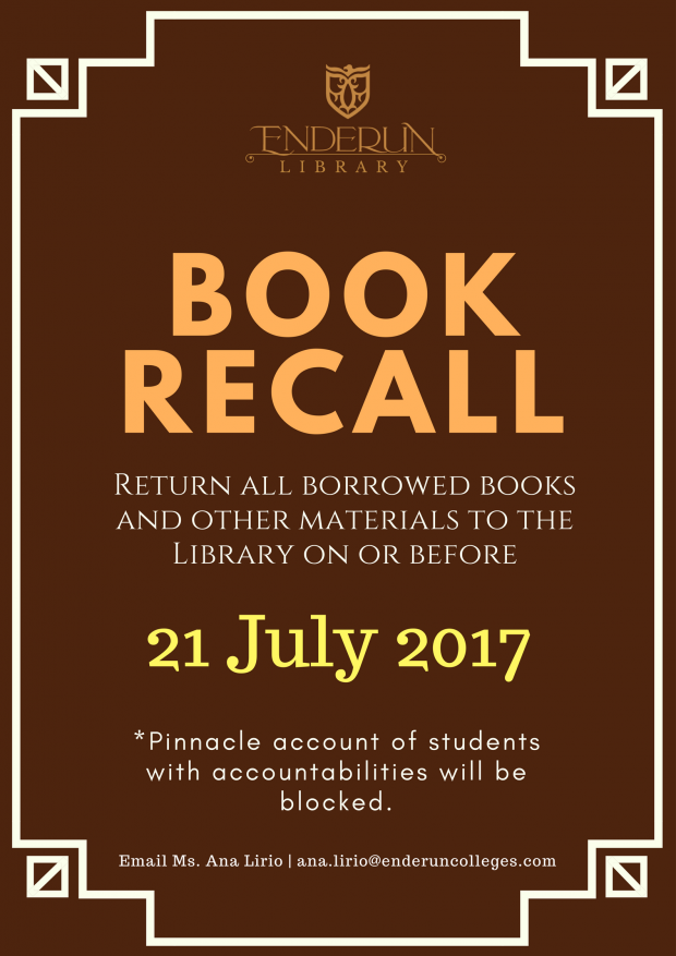 Book recall - july 2017